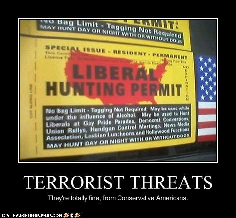 TERRORIST THREATS They're totally fine, from Conservative Americans.