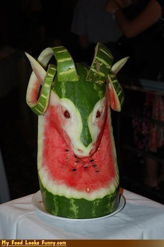 animal fruits-veggies goat ram watermelon
