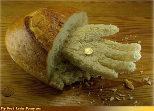 bread carved cereals-grains hand limb money