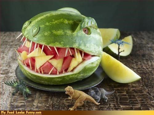 dinosaur,fruit,fruits-veggies,giant,toothpicks,watermelon