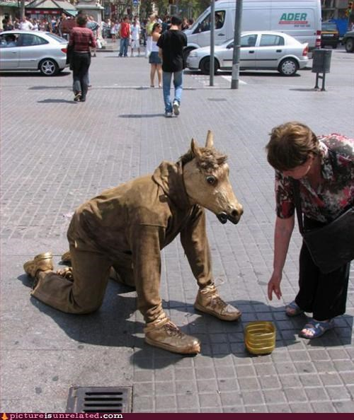 art begging costume horse struggle for life wtf