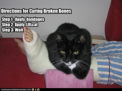 Directions for Curing Broken Bones Step 1: Apply bandages Step 2: Apply LOLcat Step 3: Wait