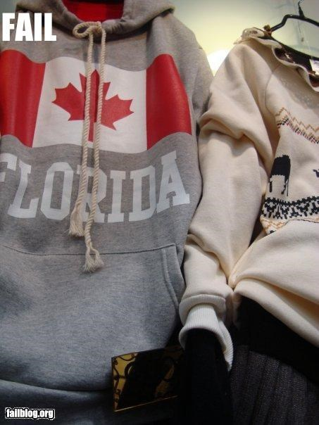Canada clothing flags florida g rated korea misprint - 3297319936
