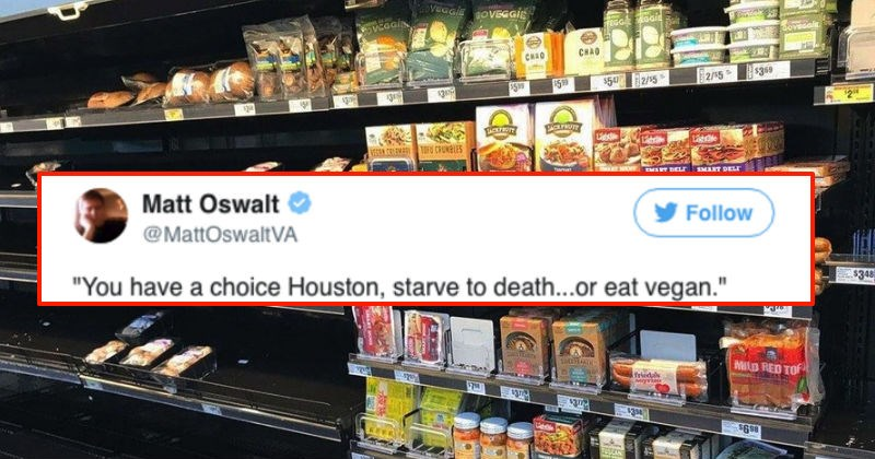 Viral picture from grocery store in Texas shows everything cleared out except for the Vegan food.