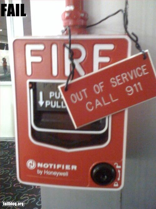 911 broken fire alarm g rated out of order