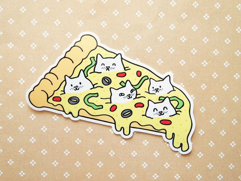 CUTE ILLUSTRATIONS OF CATS AND FOOD