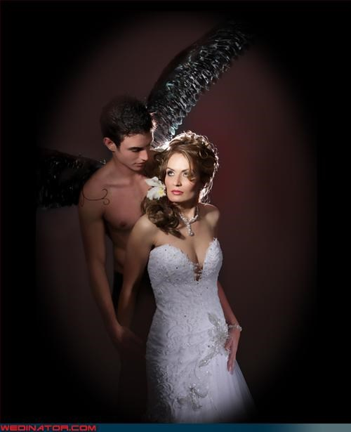 angel bride,bride,bride with wings,Crazy Brides,crazy groom,creepy wedding portrait,eww,fashion is my passion,funny wedding pictures,groom,old looking bride,shirtless groom,shudder,topless groom,touched by an angel,were-in-love,Wedding Themes,wtf