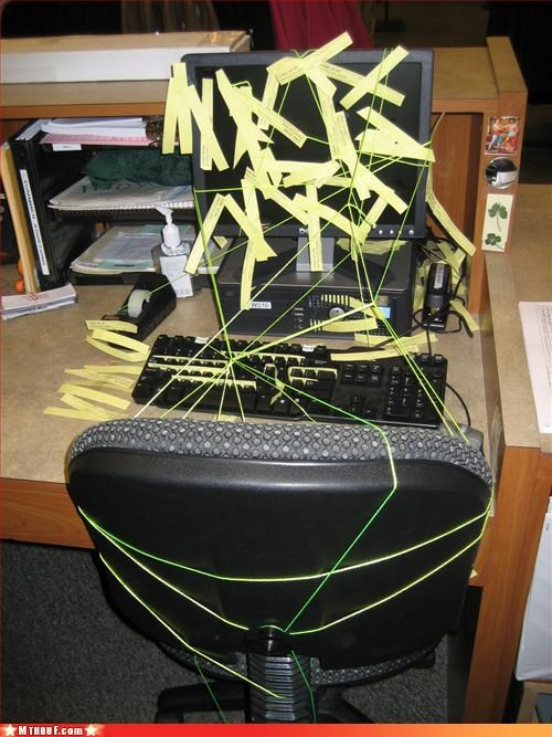 awesome co-workers not boredom crap cubicle boredom cubicle prank cubicle rage dickhead co-workers dickheads mess passive aggressive post its prank pwned screw you sculpture string wasteful