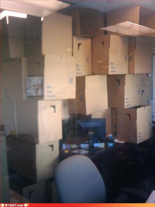 awesome co-workers not boredom boxes cardboard clever cubicle boredom cubicle prank cubicle rage dickhead co-workers ergonomics mess osha prank sass screw you sculpture stacked wiseass