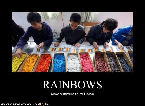 China outsourcing rainbows