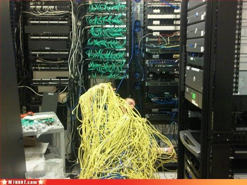 awesome boredom cable cat5 cat6 class clown clever creativity in the workplace ethernet fired jokester mess osha pwned sculpture server room Terrifying wiseass work smarter not harder