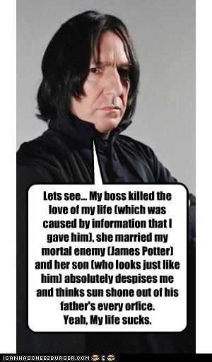 Lets see... My boss killed the love of my life (which was caused by information that I gave him), she married my mortal enemy (James Potter) and her son (who looks just like him) absolutely despises me and thinks sun shone out of his father's every orfice. Yeah, My life sucks.