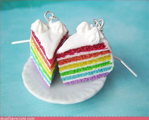 accessory,Cake earrings,Jewelry,Rainbow cake,Teeny