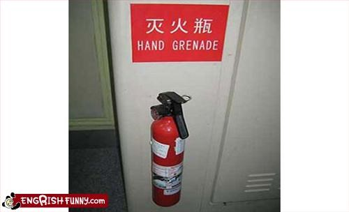 fire extinguisher g rated hand grenade oops sign wrong