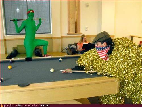 college,costume,green guy,pool,wtf