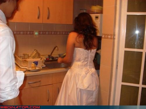 50s housewife bride fashion is my passion groom make me a sandwich psa surprise were-in-love Wedding Themes wifely duties woman in the kitchen - 3309673728