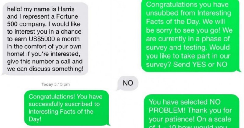 Guy gets a spam text message from a troll and proceeds to troll him