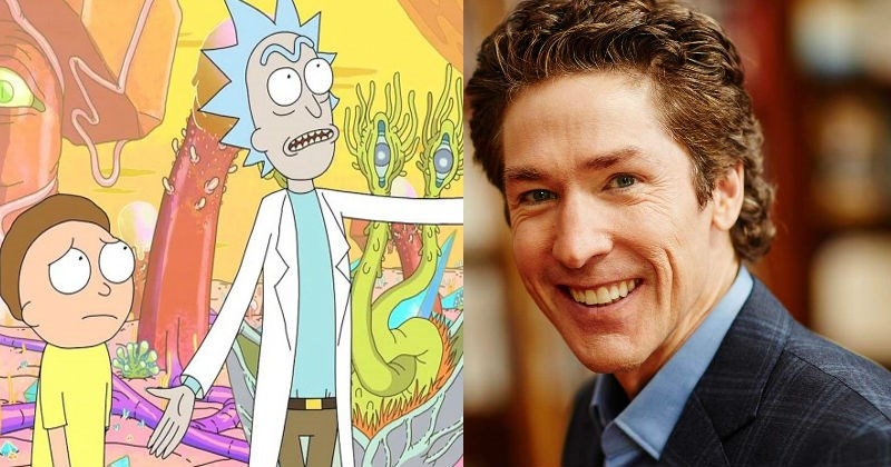 Video of Justin Roiland from Rick and Morty prank calling Joel Osteen's Mega Church.