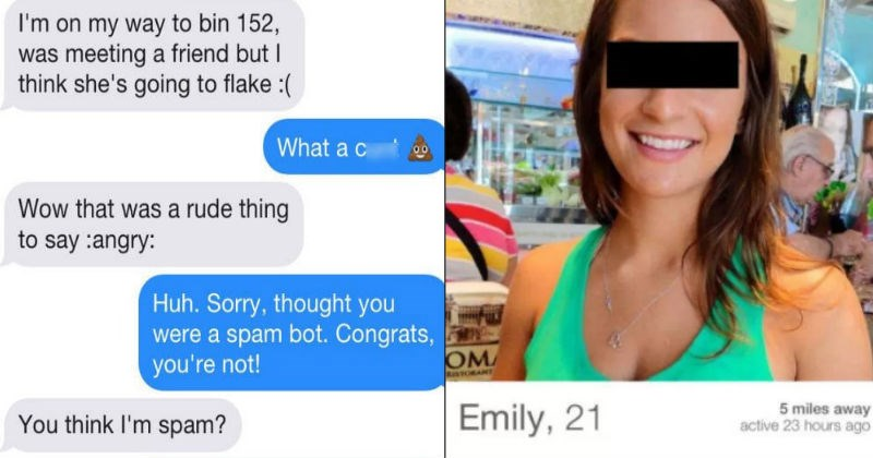 Guy on Tinder gets trapped by a tricky spambot in ridiculous conversation.