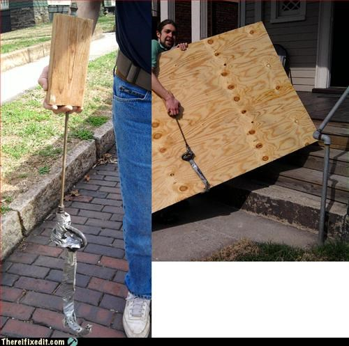 duct tape,extra arm,make it work,moving day,plywood