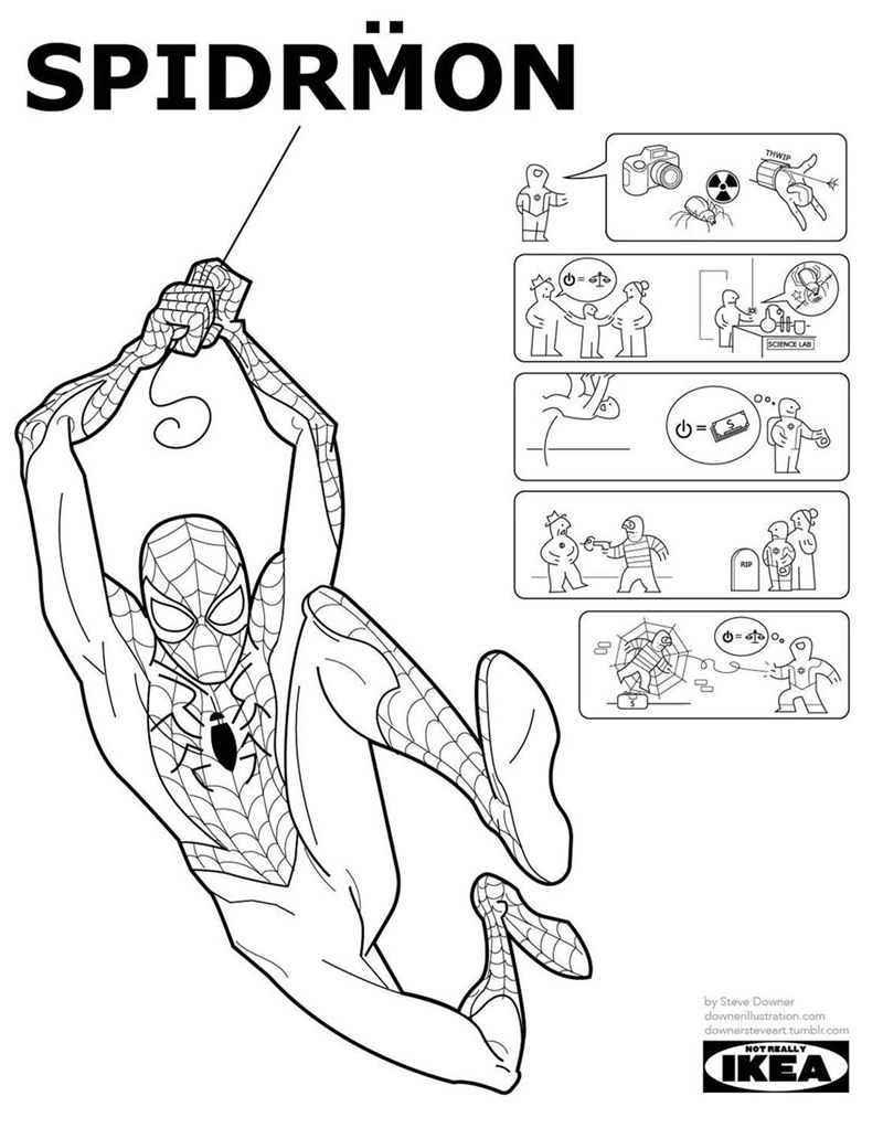 fake IKEA manuals of superheroes