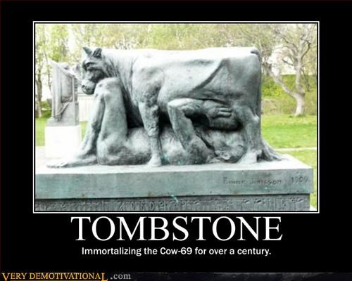 Funny picture of a tombstone that appears to show a man and cow doing a 69.