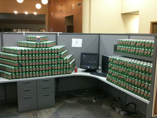 awesome co-workers not boredom caffeine creativity in the workplace cubicle boredom dickheads do the dew ergonomics gross high fructose corn syrup mess mountain dew Sad screw you sculpture soda sugar coma teenage boys type II diabetes wasteful wiseass yuck - 3320926720