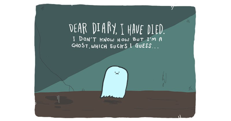 Collection of wholesome web comic about a ghost and a dog that become friends.