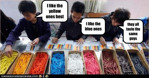I like the yellow ones best i like the blue ones they all taste the same guys