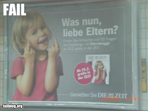 advertisment billboard failboat german kid middle finger - 3326380544