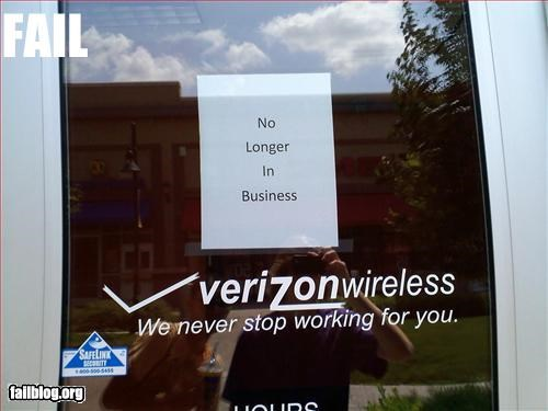 Verizon fail Well, that's not very professional.