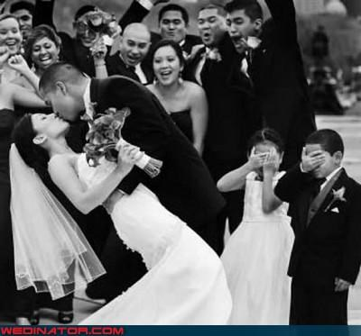 bw,bride,eww,flower girl,groom,KISS,ring bearer,surprise,virgin eyes,were-in-love,wedding party