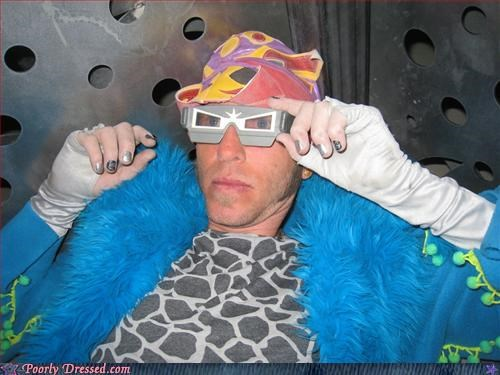 blue coat david bowie fur glam rock glasses - 3331369728