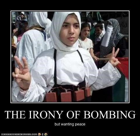 THE IRONY OF BOMBING but wanting peace