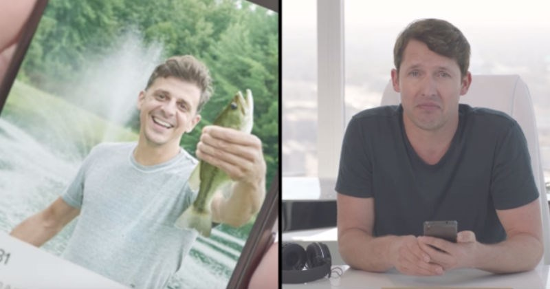 Video of the musician James Blunt reviewing people's Tinder profiles using brutal insults.