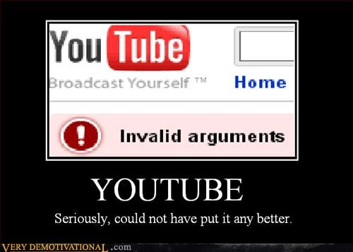 youtube internet Invalid Argument