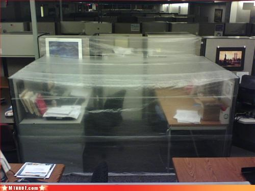 boredom creativity in the workplace cubicle boredom cubicle prank dickhead co-workers dickheads ergonomics fart tent fumigation tent low ceiling mess new invention osha plastic wrap prank pwned quarantine screw you stinky ugh wasteful wiseass wrapping