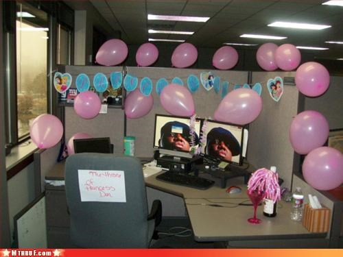 awesome co-workers not Balloons balloons are awful Biggie biggie smalls birthday boredom cubicle boredom cubicle prank depressing dickhead co-workers dickheads innuendo kinda sad mess Notorious BIG pansy paper signs pink prank pretty pretty princess pwned rap lyrics rapper sass screw you signage sluts snapper sneaky vagina wiseass