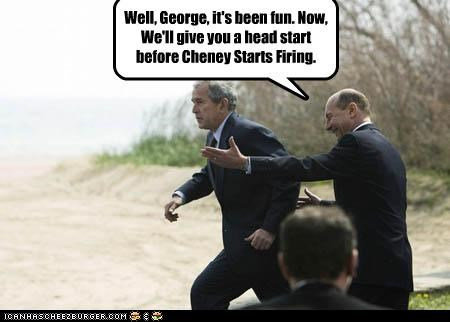 Dick Cheney,george w bush,guns,president,Republicans,running,shooting