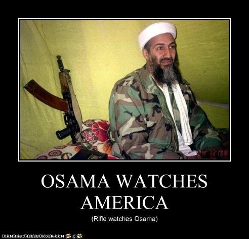 OSAMA WATCHES AMERICA (Rifle watches Osama)