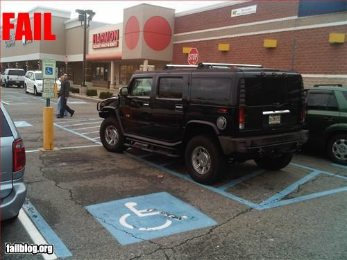 car,douchebag,g rated,hummer,parking space