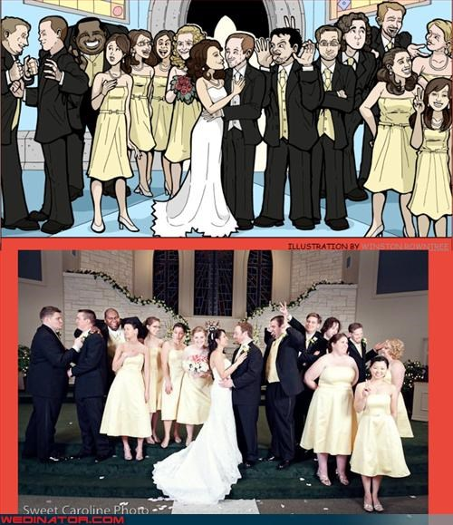 bride,bridesmaids,cartoons,commissioned art,groom,Groomsmen,Sheer Awesomeness,unique,were-in-love,wedding party,Wedding Themes