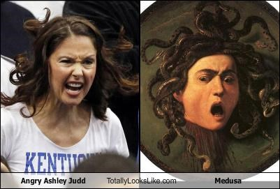 actress angry ashley judd hair medusa mythology