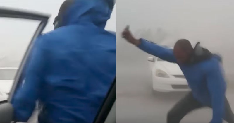 Video of crazy meteorologist stepping into Hurricane Irma's winds to show it's power.