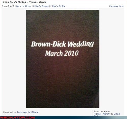 April Fools Day,classy,Crazy Brides,crazy groom,eww,surprise,unfortunate last names,were-in-love,wedding program,Wedding Themes