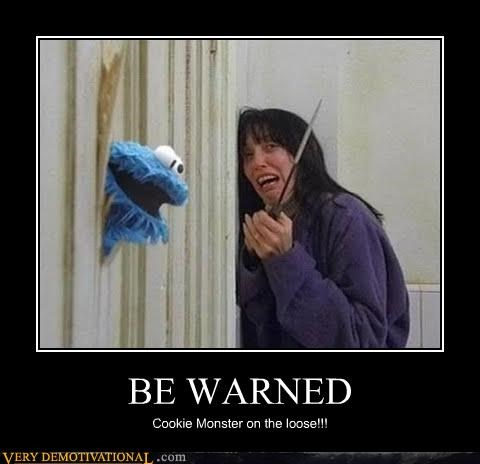 bathroom Cookie Monster demotivational great movie hilarious knife Terrifying the shining