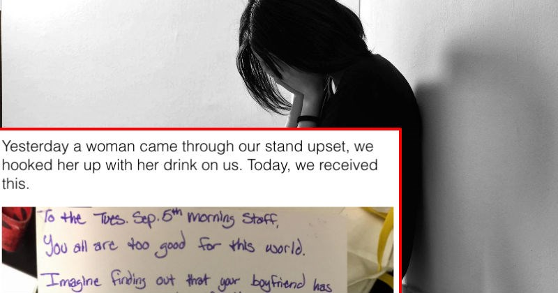 Heartbroken woman leaves a touching note after a cafe helps her get over her cheating ex.