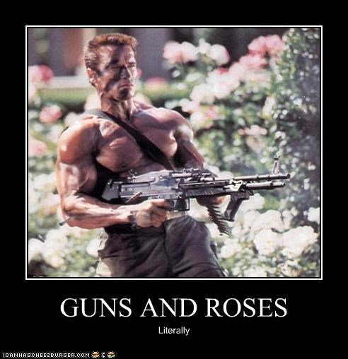 actor,Arnold Schwarzenegger,commando,flowers,guns,guns n roses