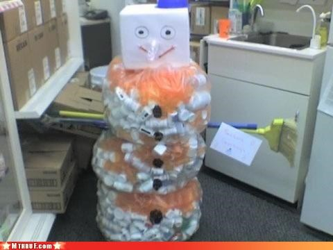 art,awesome co-workers not,boredom,creativity in the workplace,cubicle boredom,mess,pissed my pants,plastic bottles,recycling,Sad,sculpture,snowman,Terrifying,trash bags,wiseass