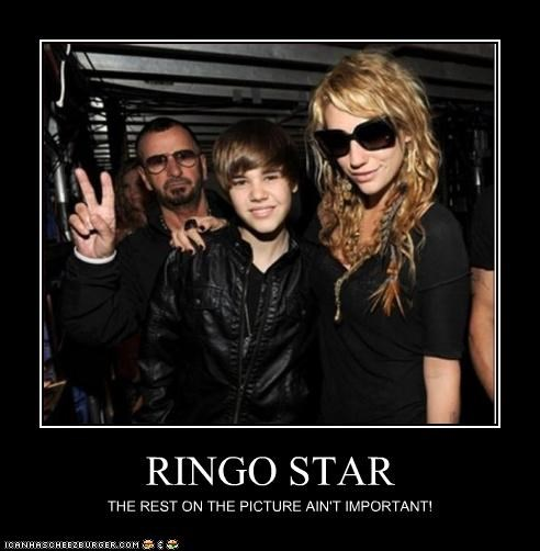 justin bieber,keha,photobomb,ringo starr,the Beatles